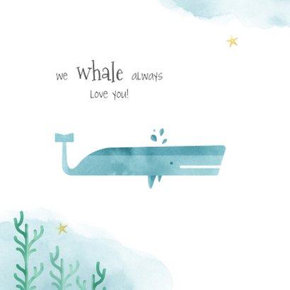 Geboortekaartje jongen walvis whale waterverf 2