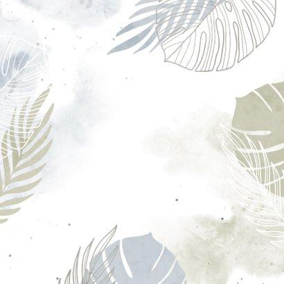 Geboortekaartje jongen waterverf botanisch in aardetinten Achterkant