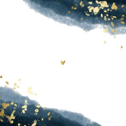 Geboortekaartje jongen waterverf gouden spetters Achterkant
