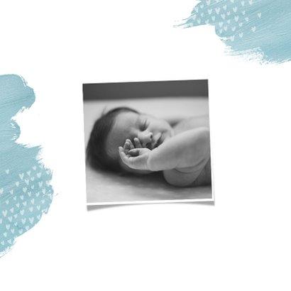Geboortekaartje jongen waterverf hartjes pijltje foto 2
