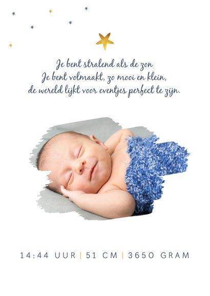 Geboortekaartje jongen wereldbol waterverf sterren foto 2