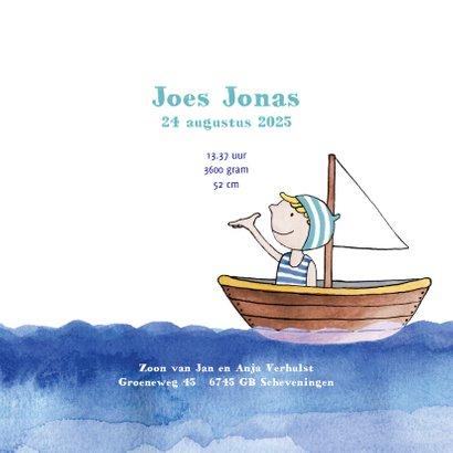 Geboortekaartje jongetje in bootje op zee 3