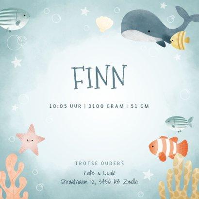 Geboortekaartje jongetje met visjes, walvis, oceaan sterren 3