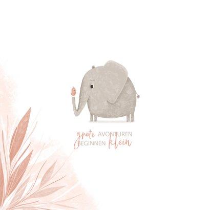 Geboortekaartje jungle blaadjes met olifant en vogel 2