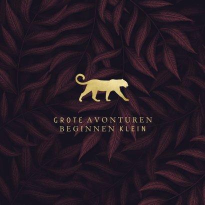 Geboortekaartje jungle bladeren met gouden panter silhouet 2