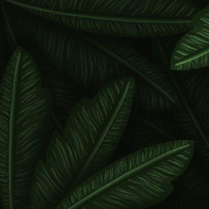 Geboortekaartje jungle bladeren met panter silhouet goud Achterkant