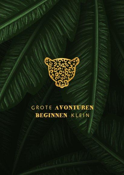 Geboortekaartje jungle bladeren met silhouet panter goud 2