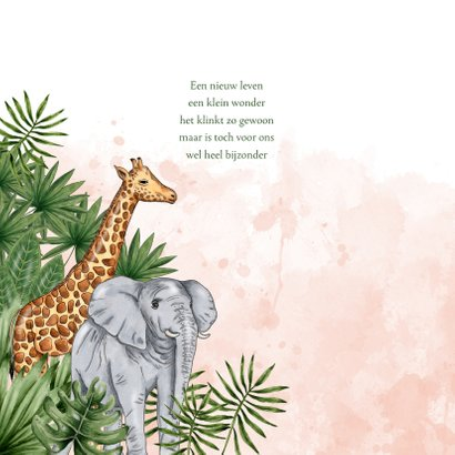Geboortekaartje jungle dieren waterverf roze 2