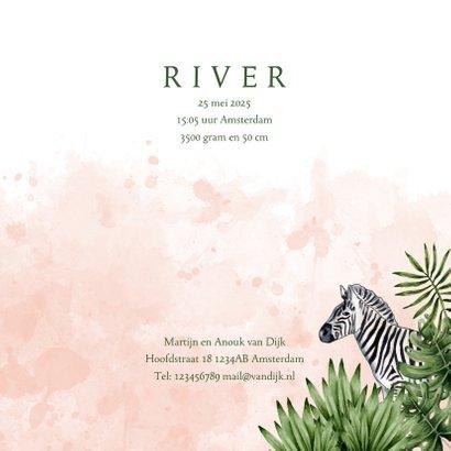 Geboortekaartje jungle dieren waterverf roze 3