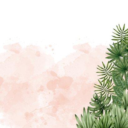 Geboortekaartje jungle dieren waterverf roze Achterkant