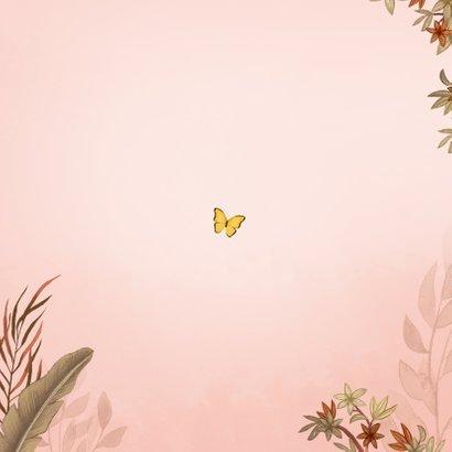 Geboortekaartje jungle meisje koala beer vlinders Achterkant