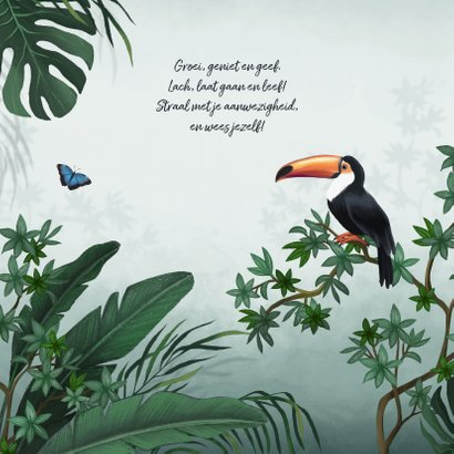 Geboortekaartje jungle toekan vlinder dieren groen 2