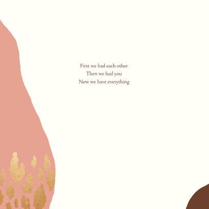 Geboortekaartje kleurvlakken panterprint goudlook  2
