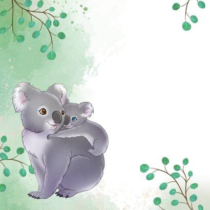 Geboortekaartje koala met baby en takjes waterverf  2