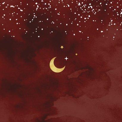 Geboortekaartje koper rood maan sterren  Achterkant