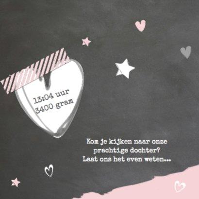 Geboortekaartje krijtbord roze- LOVZ 2
