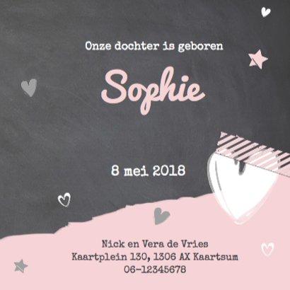 Geboortekaartje krijtbord roze- LOVZ 3