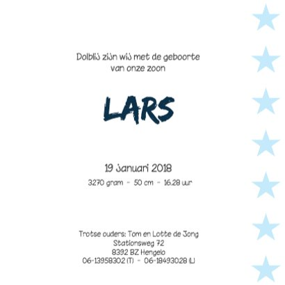 Geboortekaartje Lars 3