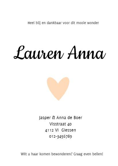 Geboortekaartje Lauren 2