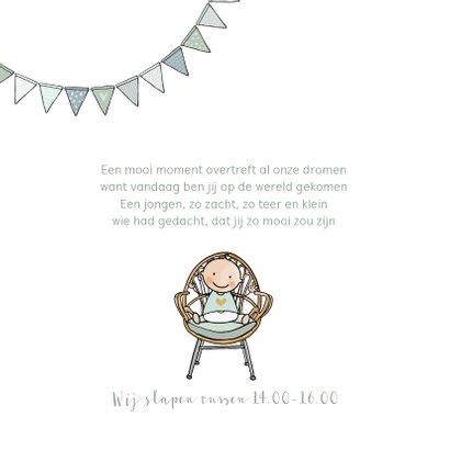 Geboortekaartje ledikant groen met baby 2