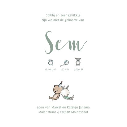 Geboortekaartje ledikant groen met baby 3