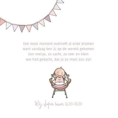 Geboortekaartje ledikant roze met baby 2