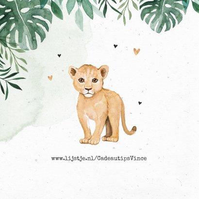 Geboortekaartje leeuw jungle botanisch waterverf 2