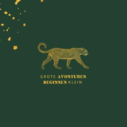 Geboortekaartje leopard goudlook met spetters 2