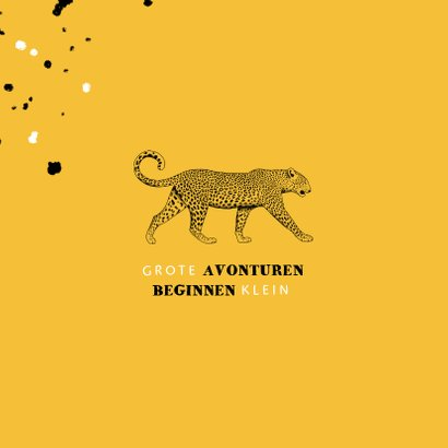 Geboortekaartje leopard zwart/wit met spetters 2
