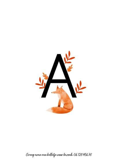 Geboortekaartje letter minimalistisch met vosje 2