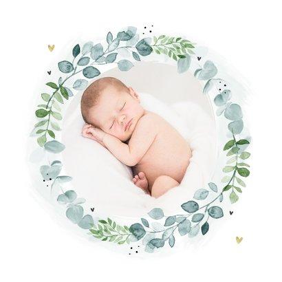 Geboortekaartje lief bladeren hartjes krans foto 2