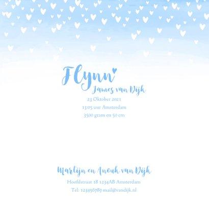 Geboortekaartje lief hartjes aquarel foto lichtblauw 3