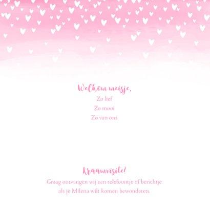 Geboortekaartje lief hartjes aquarel foto roze  2