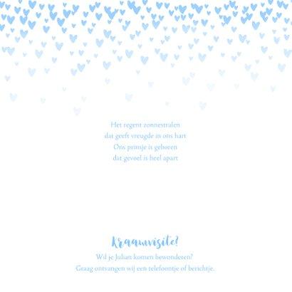 Geboortekaartje lief hartjes aquarel lichtblauw 2