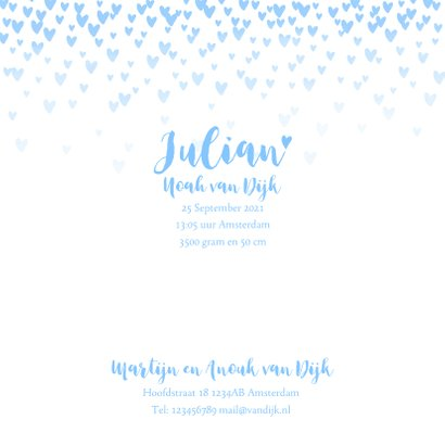 Geboortekaartje lief hartjes aquarel lichtblauw 3