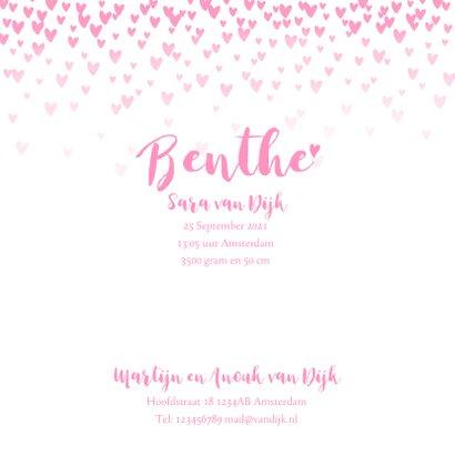 Geboortekaartje lief  hartjes aquarel roze 3