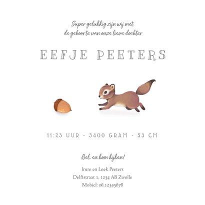 Geboortekaartje lief herfst met schattig eekhoorntje 3