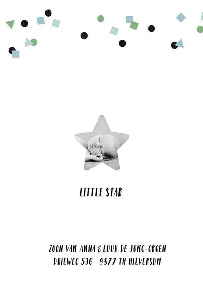Geboortekaartje lief jongen confetti en foto 2