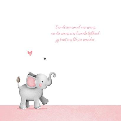 Geboortekaartje lief meisje olifant foto hartjes 2
