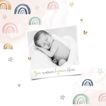 Geboortekaartje lief meisje regenboog sterren waterverf 2