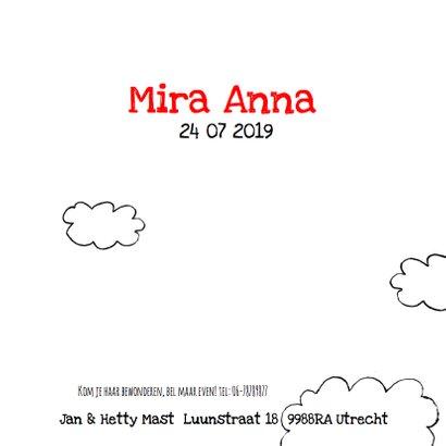 Geboortekaartje lief meisje wolk 3