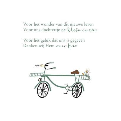 Geboortekaartje lief met groenblauw fietsje 2