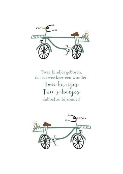 Geboortekaartje lief met groenblauwe fietsjes tweeling 2