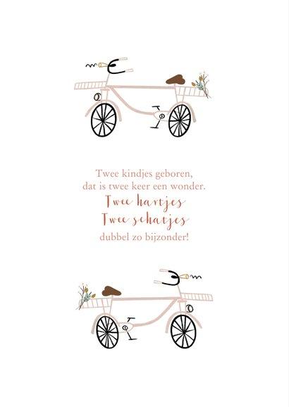 Geboortekaartje lief roze fietsjes tweeling 2