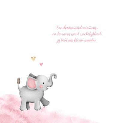 Geboortekaartje lief waterverf olifantje hartjes 2