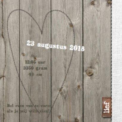 Geboortekaartje Lieke- hout design 2