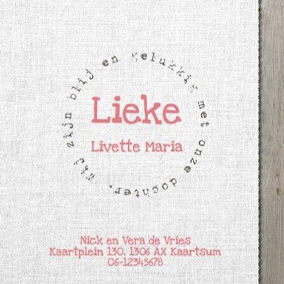 Geboortekaartje Lieke- hout design 3
