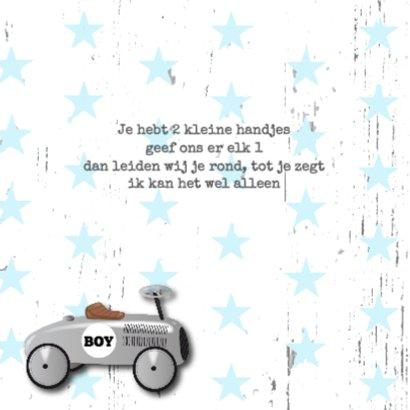 Geboortekaartje loopauto jongen 2