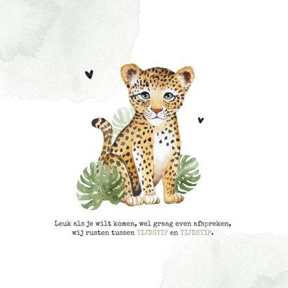 Geboortekaartje luipaard botanisch foto waterverf 2