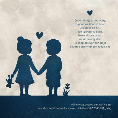 Geboortekaartje maan -  silhouet jongen en meisje tweeling 2